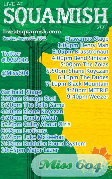Live at Squamish Schedule