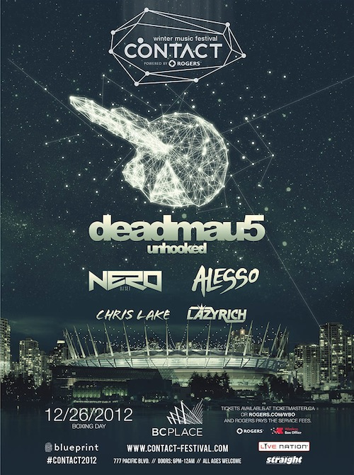 Contact festival with deadmau5 on boxing day at bc place vancouver blueprint events and live nation have announced contact western canadas largest electronic concert ever to play bc place this boxing day malvernweather Gallery