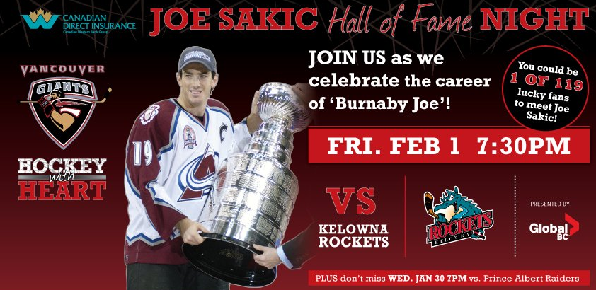 Vancouver Giants Joe Sakic Night