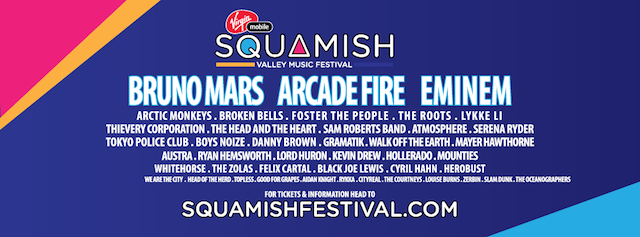 Squamish Valley Music Festival 2014 Lineup: Eminem, Bruno Mars, Arcade Fire